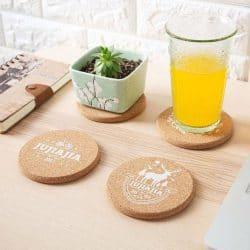 Coaster cork round with pattern