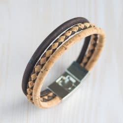Cork bracelet, vegan bracelet for men with braided cork