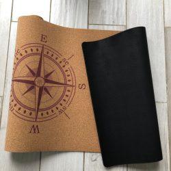 Cork yoga mat - Compass Design 5mm thickness
