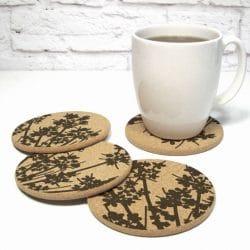 Floral Design Round Cork Coasters