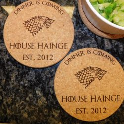 Game of Thrones Personalized Kitchen Cork Hot Pads Trivets.