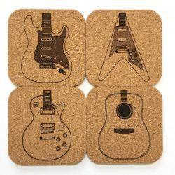 Guitar Cork Coaster Set