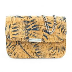 Natural cork shoulder bag - jungle