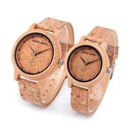 Natural cork watch vegan wrist watch wood color with cork watch strap