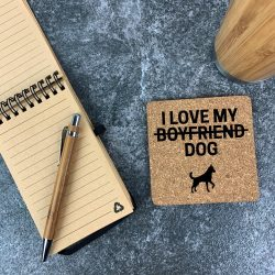 Personalised Square Cork Coaster 'I Love My Cat