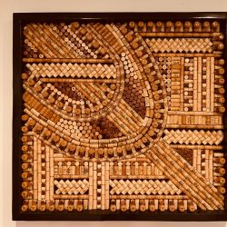 Recycled Wine Cork Mosaic Abstract Wall Art