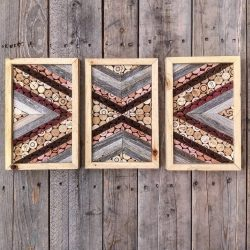 Triple Chevrons - Salvaged Wine Cork wall art