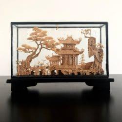 Vintāža, korķa grebums, Āzijas interjeri