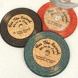 Vinyl Record Shaped Cork Coaster