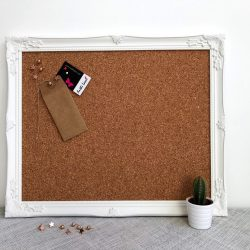 White Ornate Framed Cork Board