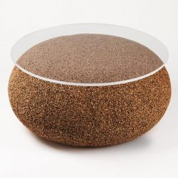 coffee table Nepal, round in natural filled cork
