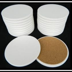 lank Round Absorbent Stone Coasters with Cork Backing