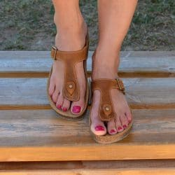 rown Thong sandals, Cork sole sandals