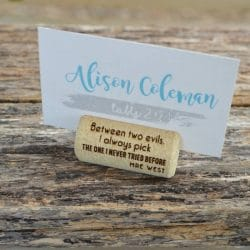 Cork Place Card Holders with funny quotes