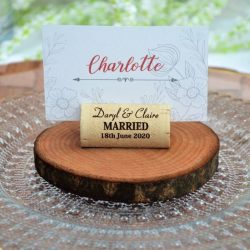 Wine cork place card holder rustic for weddings and parties